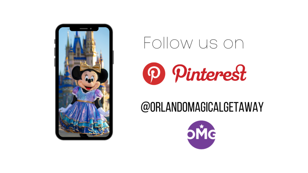 Minnie mouse greets you to follow us on Pinterest and Celebrate 50th Anniversary at Disney