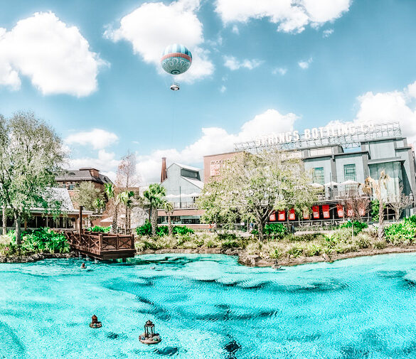 The distinctive blue waters of the lagoon at Disney Springs