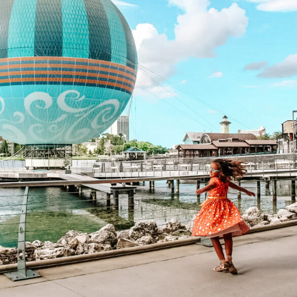 Little girl enjoying her family Orlando vacation at Disney Springs