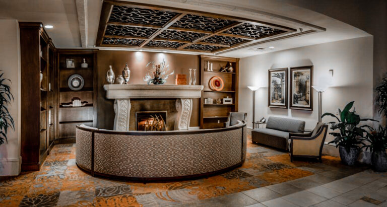 A welcoming fireplace in the grand lobby
